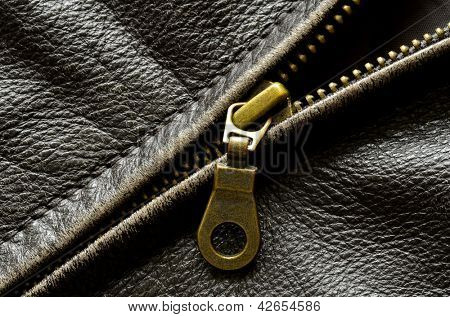 Deep textured leather jacket with brass zipper