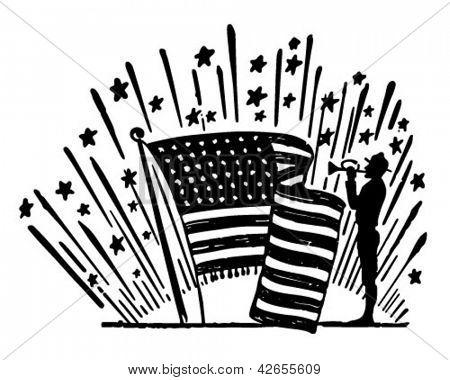 Soldier Playing Reveille - Retro Clip Art Illustration