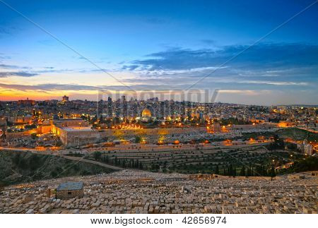 View to Jerusalem old city. Israel. HDR