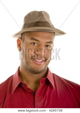 Black Man In Red Shirt Brown Hat Smile