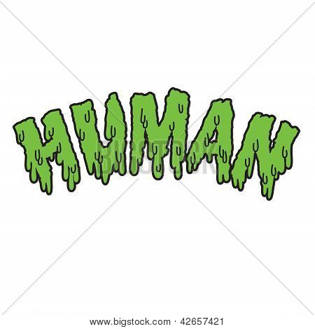 Vector drippy human text in green