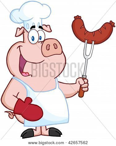 Happy Pig Chef Cartoon Character
