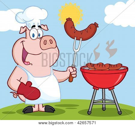 Pig Chef Cook At Barbecue On A Hill