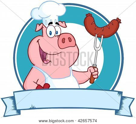 Pig Chef Holding A Sausage