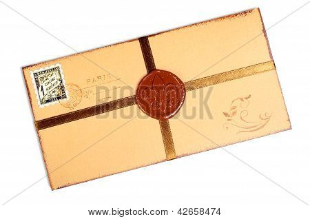 Vintage Paper Envelope With Wax Stamp.