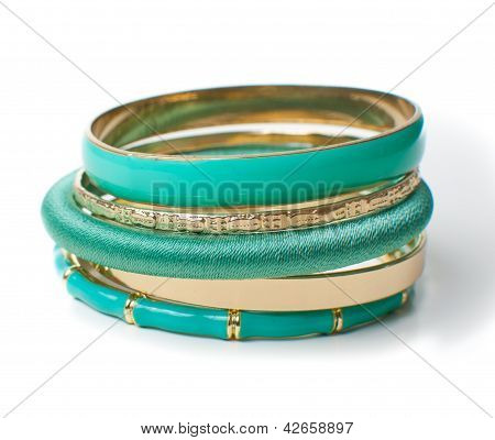 Jewelry, Five Elegant Women's Bracelets, Isolated