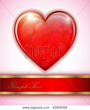 Red heart background shiny, vector illustration.