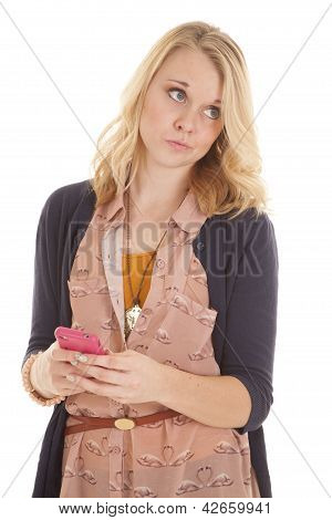 Woman Looking Side With Phone Text