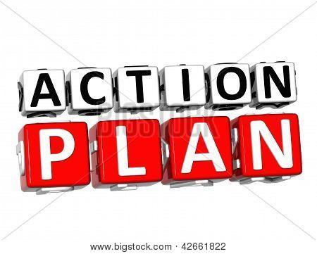 Plano de ação em 3D botão Clique aqui bloco de texto