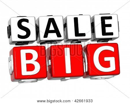 3D Big Sale Button Click Here Block Text