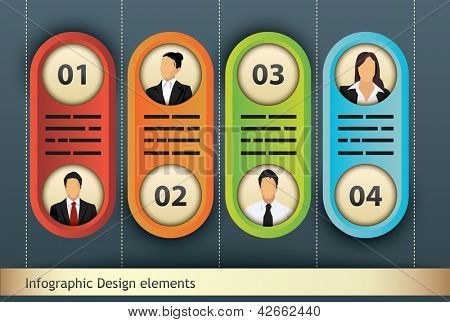 Presentation template with four options, each with space for text, title and additional business person portrait