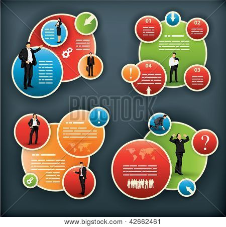 An infographic template for corporate and business with spherical elements and people illustrations