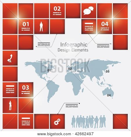 An infographic template with a world map and different depth square elements around