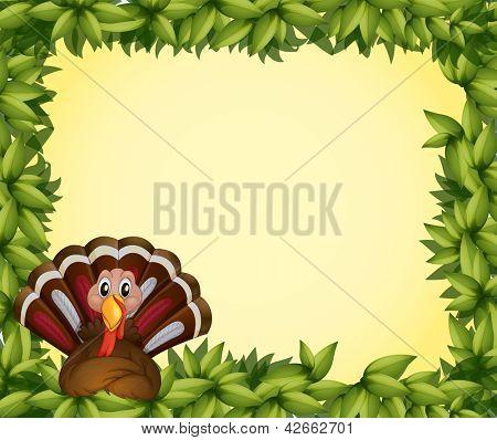 Illustration of a turkey in a leafy frame border