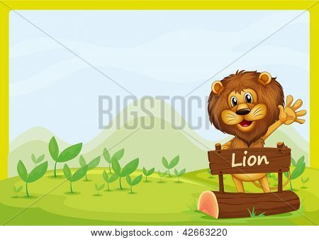 Illustration of a lion and the signboard