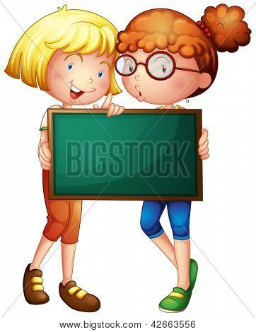 Illustration of two girls holding a green board on a white background