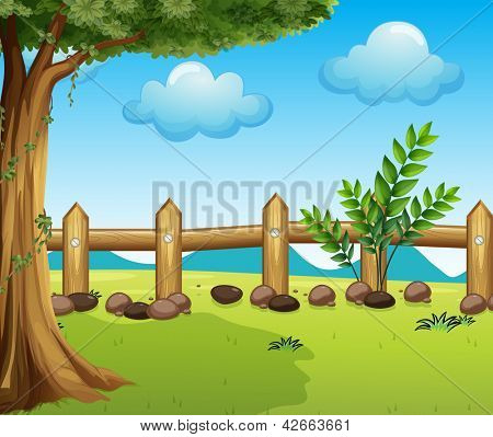 Illustration of a big tree inside a fence