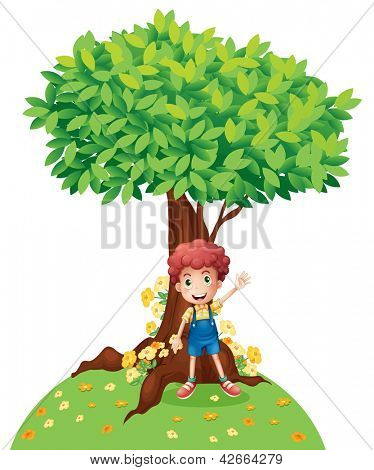 Illustration of a young boy standing under a big tree on a white background