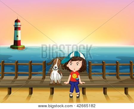 Illustration of a boy, a dog and a light house