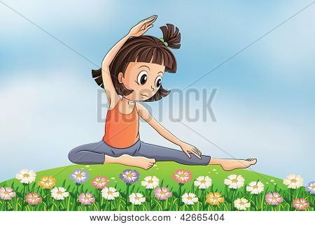 Illustration of a girl doing yoga in the garden