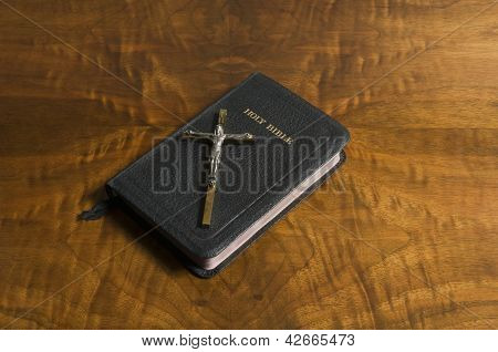 Cross, Bible On Antique Wood
