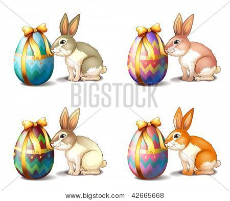 Illustration of four rabbit in different colors on a white background