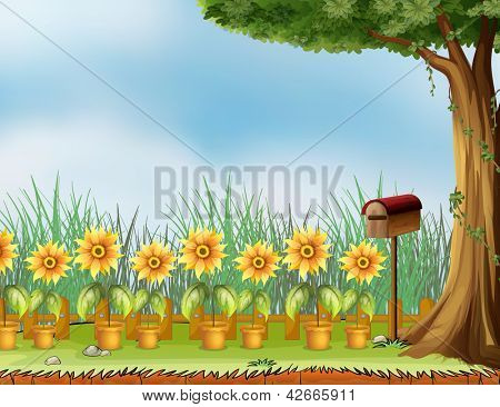 Illustration of a garden with a bird's house