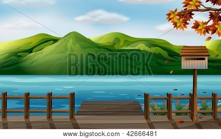 Illustration of a view of the sea and the high mountains