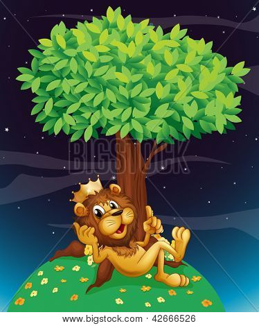 Illustration of a king lion under a tree