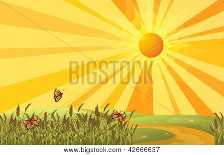 Illustration of a sunset above the hills