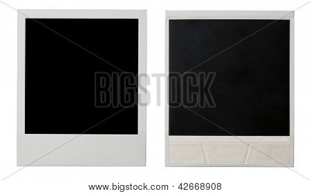 instant photo frame both sides isolated on white