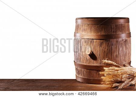 Wooden barrel on a white background. File contains a clipping path.
