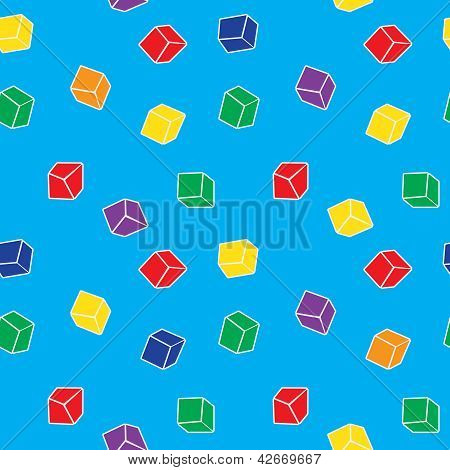 Vector Abstract Seamless Pattern - Colorful Cubes