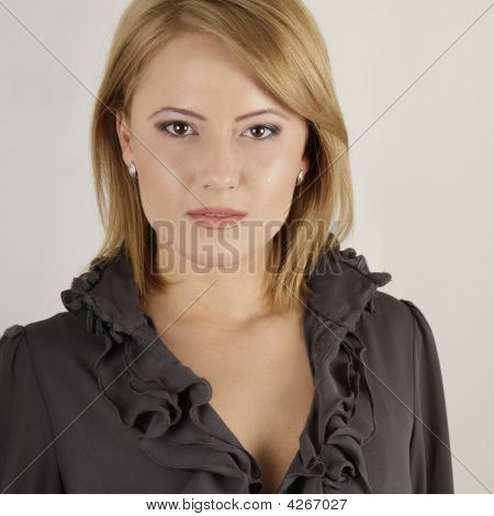 Beautiful Blond Woman Face With Perfect Skin