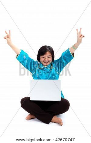 Chinese Woman With Laptop, Victory Sign