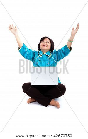 Chinese Woman With Laptop,thanking God