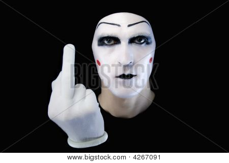 Portrait Of The Mime In White Gloves. You