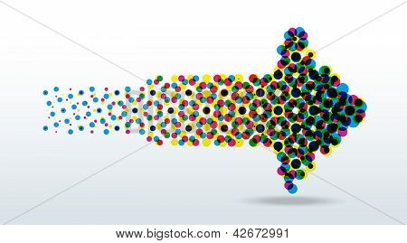 cmyk dots arrow vector illustration