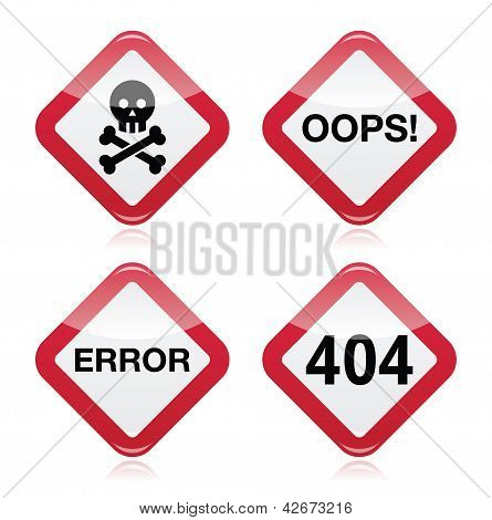 Danger, oops, error, 404 red warning sign