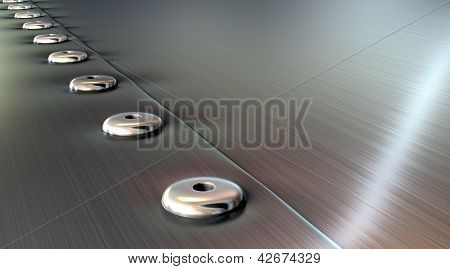 Rivets On Brushed Metal Perspective
