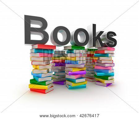 Books in piles