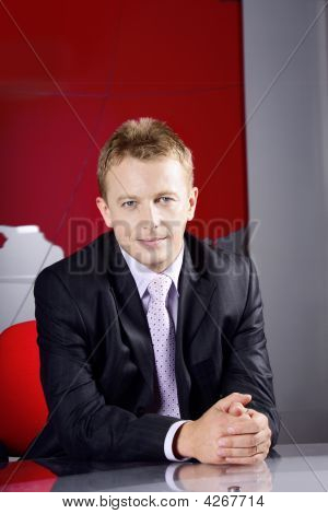 Businessman In Television Studio