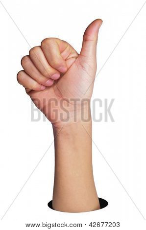 a man hand making the thumbs up sign