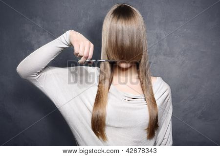 Girl with scissors