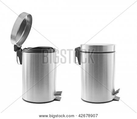 Two metal trash cans, one open, one closed, isolated on white
