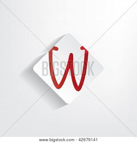 Letter W Paper Sticker
