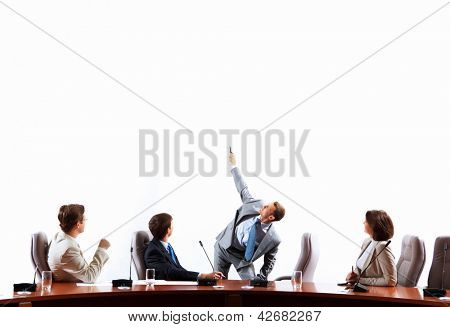 Image of businesspeople at presentation looking at screen. Space for advertisment