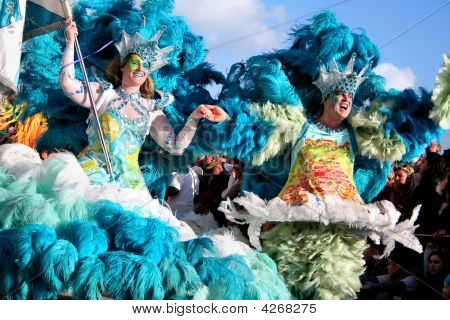Brazilian Samba Dancers During The Carnival