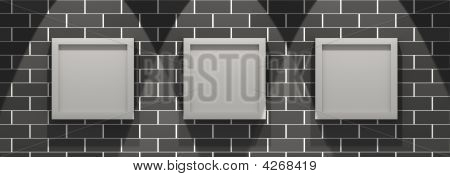 3D Picture Gallery On A Brick Wall
