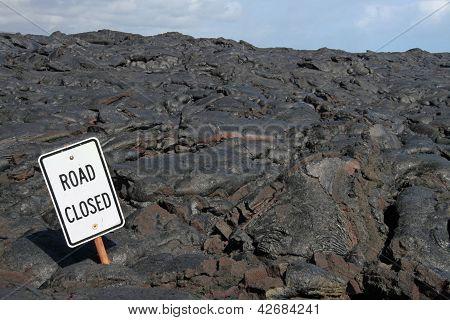 Road closed - lava field near kalapana (big island, hawaii)